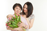 the woman presented a bouquet