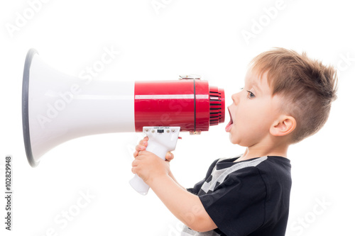obraz lub plakat süßer junge mit megaphone