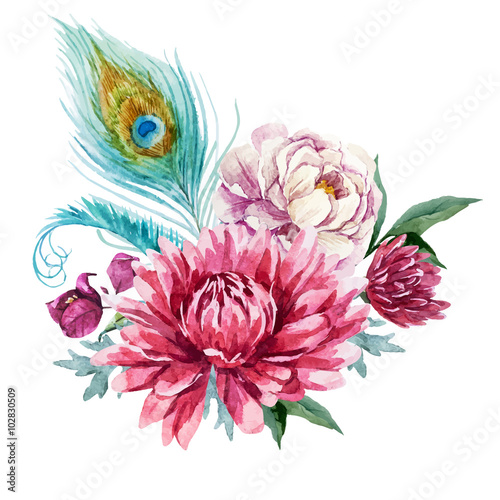 Watercolor floral composition  - 102830509