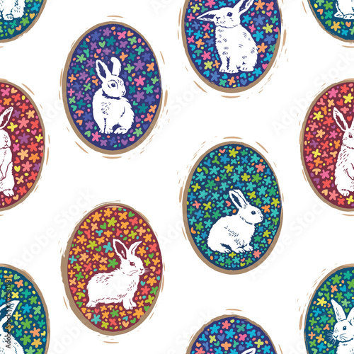 Cotton fabric Seamless pattern with floral easter eggs and bunny silhouette