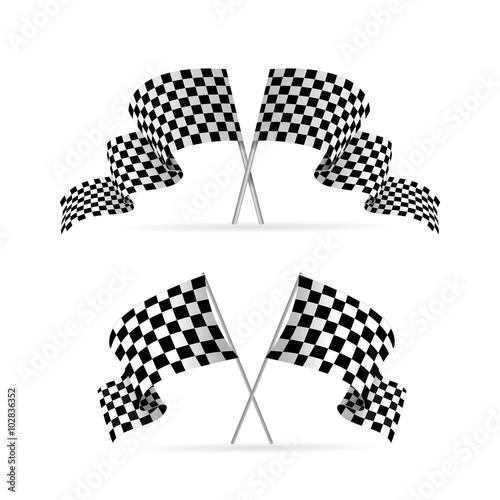 Foto op Plexiglas F1 Racing Flag Avto Set. Vector