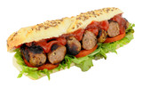 Sausage And Salad Sub Roll Sandwich