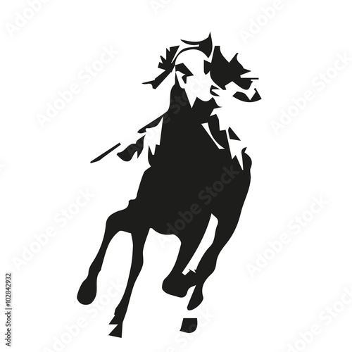 Horse racing abstract vector illustration, racehorse riding