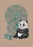 Bear panda on a background of mandalas - 102843368
