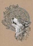 Howling wolf, dog on the background of the mandala - 102844594