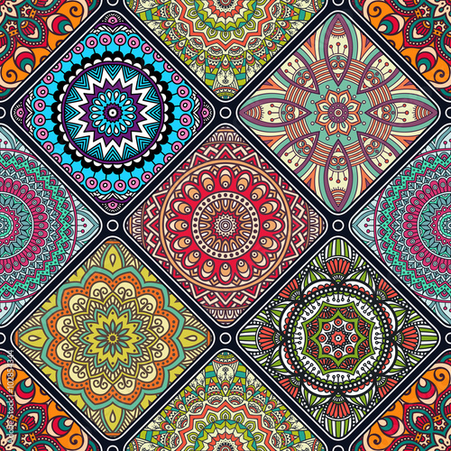 Ethnic floral seamless pattern - 102854344