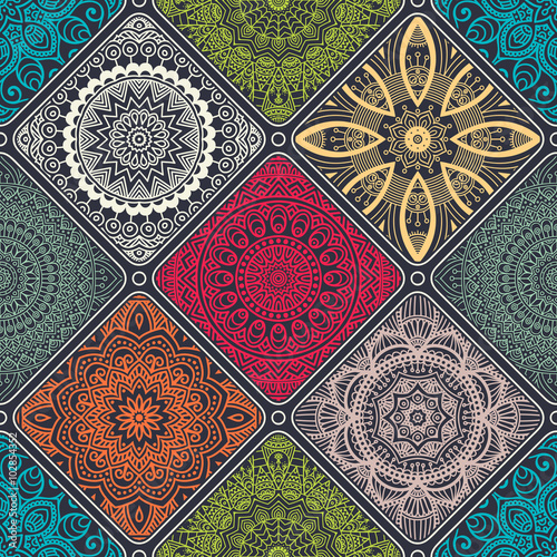 Ethnic floral seamless pattern - 102854352