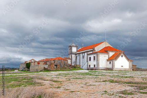 Back of the baroque church in the Sanctuary of Nossa Senhora do Cabo, aka Nossa Senhora da Pedra Mua, with ruins Poster