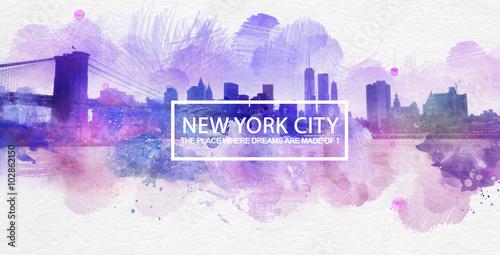 Plakat Purple New York City Dreams Postcard Painting