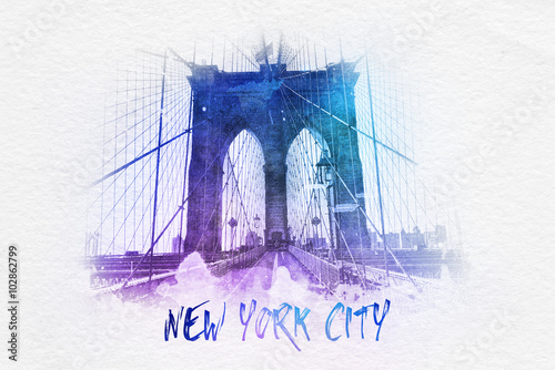 Plakat Brooklyn bridge with New York City text