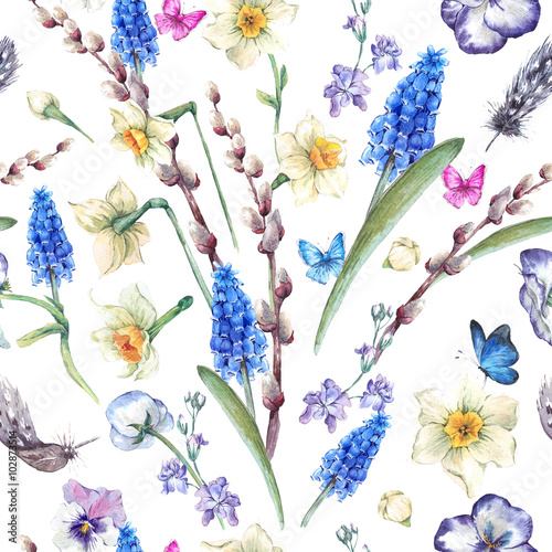 Cotton fabric watercolor seamless pattern, spring bouquet with daffodils