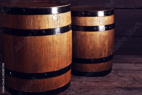Two old wooden wine barrels, closeup © Africa Studio