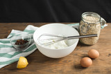 Ingredients for cheese casseroles, oatmeal, cottage cheese, eggs