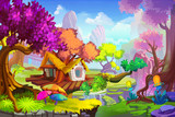 Creative Illustration and Innovative Art: The Tree House Scene. Realistic Fantastic Cartoon Style Artwork Scene, Wallpaper, Story Background, Card Design