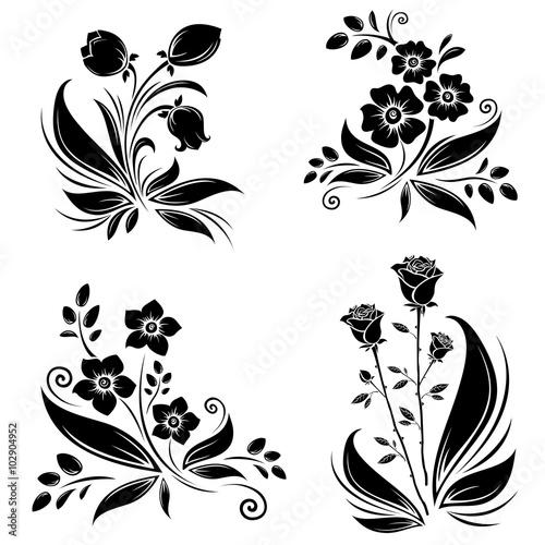 Zdjęcia na płótnie, fototapety, obrazy : Flowers black silhouettes collection set