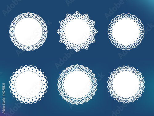 Vector decorative lace frames. Doily templates for logo, names | Buy ...