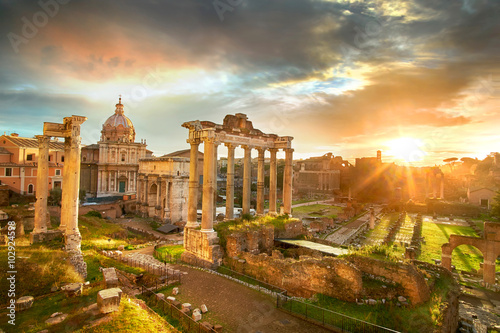 Poster Roman Forum. Ruins of Roman Forum in Rome, Italy during sunrise.