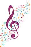 Violinenschlüssel und Noten
