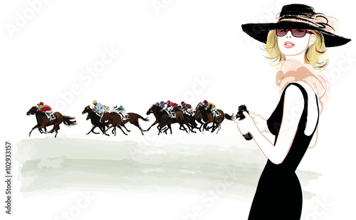 Poster Art Studio Woman in a horse racecourse