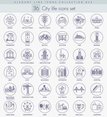 Vector Modern city outline icon set. Elegant thin line style design.