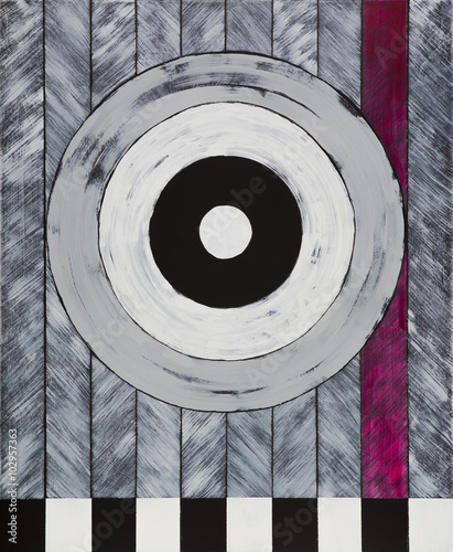 A painting of a black and white target - 102957363