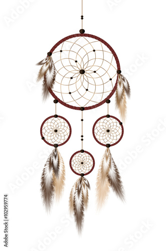 dreamcatcher-with-beads-and-feathers-in-beige-and-brown-isolated-on-white-background