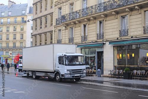 Fotobehang Parijs Paris, France, February 10, 2016: trucks on a Paris street, France