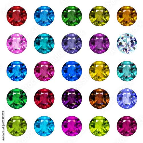 Set of gemstone icons. Bright round shape gems. © aklionka