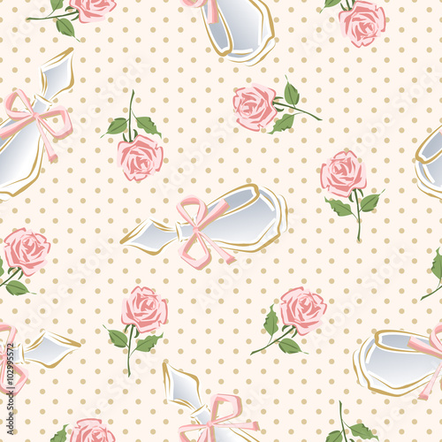 Materiał do szycia Vector glamorous pattern of perfume bottles and roses.