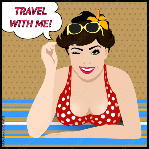 Travel poster with  pop art winking woman