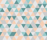 Colorful tile vector background illustration. Grey, orange, pink and green triangle geometric mosaic card