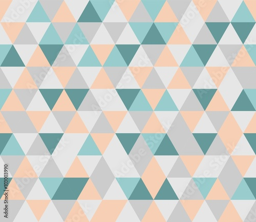 Colorful tile vector background illustration. Grey, orange, pink and green triangle geometric mosaic card - 103003990