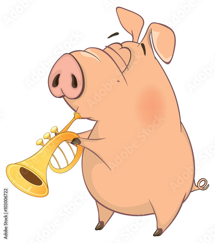 Deurstickers Babykamer illustration of a pig-musician cartoon
