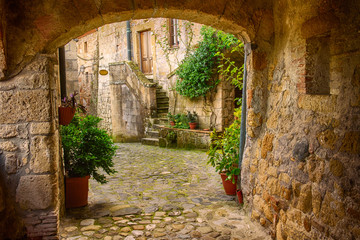 Narrow street of medieval tuff city Sorano with arch, green plants and cobblestone, travel Italy background