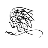 Vector sign woman head scrawled