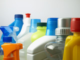 Cleaning supplies in plastic containers - 103028343