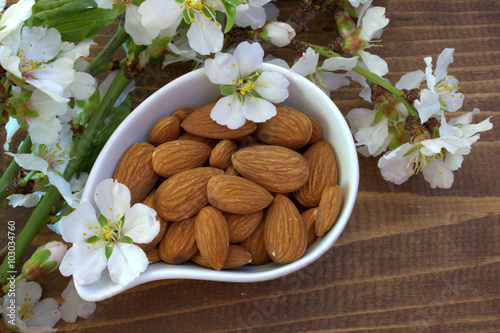 Poster Almond nuts and blossoming branch.