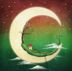 Illustration or card with  fantasy moon and house and cherry tree