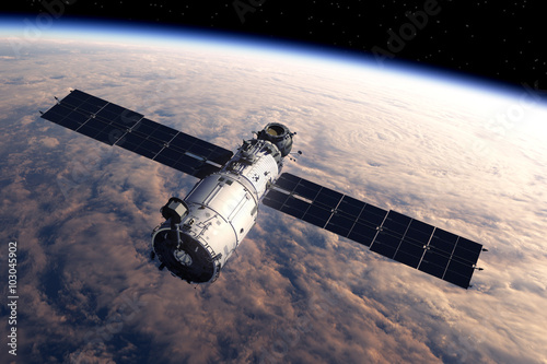 Foto op Canvas Space Station Orbiting Earth