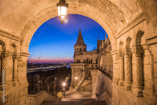 Fototapeta North Gate of Fisherman's Bastion in Budapest, Hungary Illuminated at Dawn