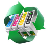CMYK set of cartridges with recycling symbol - 103078987