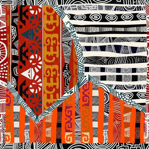 Materiał do szycia Indyjski tribal wzór. Ilustracja wektorowa