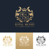 Fototapety Luxury royal crest logo template design for hotel and fashion brand identity.