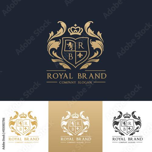 Luksusowe logo, tożsamość butiku, nieruchomości, nieruchomości, logo royalty, logo hotelu, logo grzebieniem, logo w stylu wiktoriańskim, szablon logo wektor.