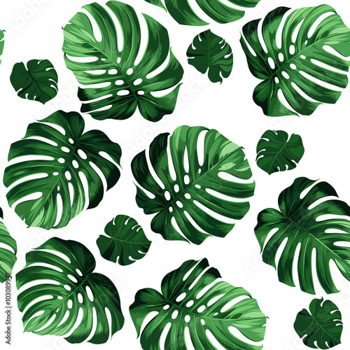 Cotton fabric leaves monstera background