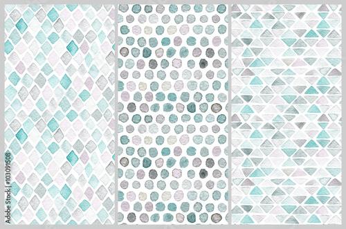fototapeta na ścianę Set of seamless watercolor patterns. Simple geometric shapes.