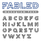 Logo Font vector alphabet design linear ABC outline typeface