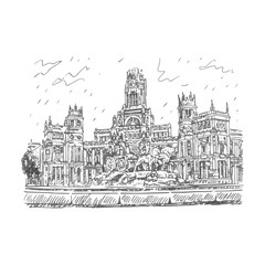 Cybele Palace and fountain at the Plaza Cibeles in Madrid, Spain. Drawn pencil sketch. Vector file