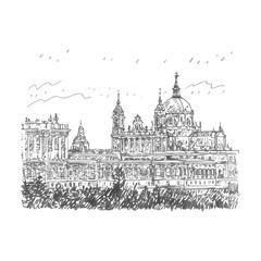 Santa Maria la Real de La Almudena Cathedral and the Royal Palace. Madrid, Spain. Drawn pencil sketch. Vector file