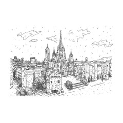 The Cathedral of the Holy Cross and Saint Eulalia in Barcelona, Spain. Drawn pencil sketch. Vector file